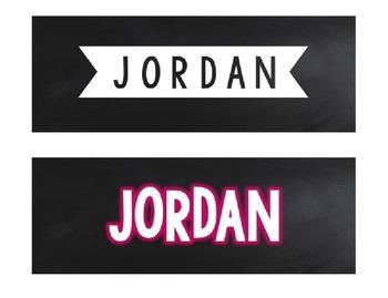 Editable Nameplates or Labels - Chalkboard, Stripes, Gold Confetti Glitter