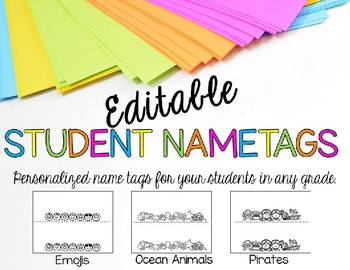 Editable Nametags With Positive Messages to Students – 3 Templates For Any Grade
