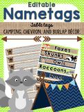 Editable Nametags and Table Tags {Camping, Burlap, Chevron}