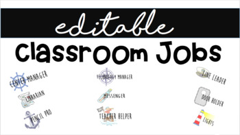 Editable Nautical Classroom Job Labels