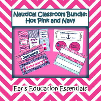 Editable Nautical Classroom Theme Bundle Hot Pink and Navy