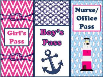 Editable Nautical Classroom Theme Bundle Hot Pink and Navy