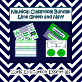 Editable Nautical Classroom Theme Bundle: Lime Green and Navy
