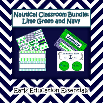Editable Nautical Classroom Theme Bundle: Lime Green and Navy