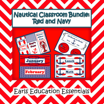 Editable Nautical Classroom Theme Bundle Red and Navy
