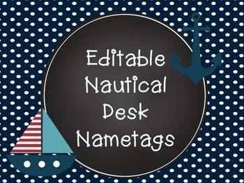 Editable Nautical Desk Nametags