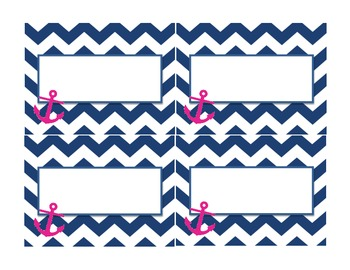 Navy and Pink Nautical Labels