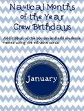 Editable Nautical Months of the Year Crew Birthdays