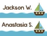 Editable Nautical Nameplates - Editable PDF - Just type the names!