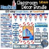 Editable Nautical Theme Classroom Decor Bundle