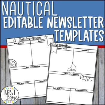 Editable Nautical Themed Class Newsletter Template