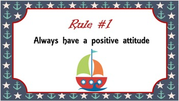 Editable Nautical Themed Class Rules Posters