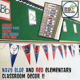 Back to School Editable Navy & Red Classroom Decor