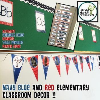 Editable Navy & Red Classroom Decor