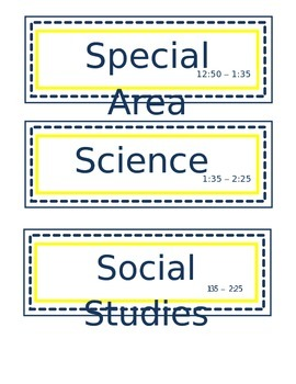 Editable Navy and Yellow Daily Schedule Cards