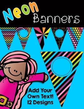 Editable Neon Banners Pennants