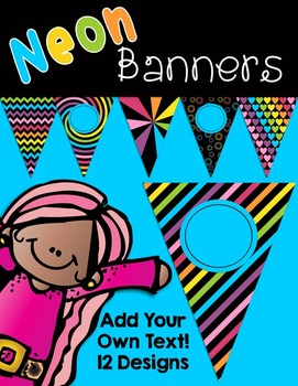 Editable Neon Banners Pennants