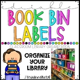 Editable Neon Bright Library Book Bin Labels