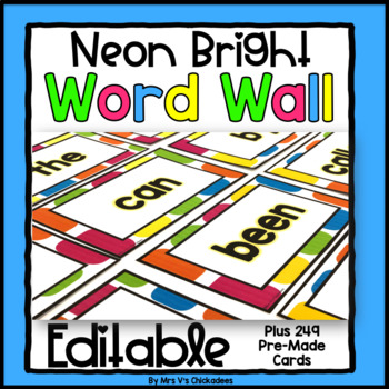 Editable Neon Bright Word Wall: 200 Sight Words & More