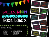 Editable Neon Chalkboard Book Labels by Genre