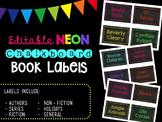 Editable Neon Chalkboard Book Labels by Genre