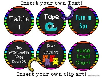 Editable Neon & Chalkboard Labels {15 Different Labels, 9 Different Colors}