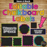 Editable Labels, Neon & Chalkboard {15 Different Labels, 9 Different Colors}