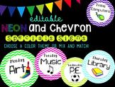 Editable Neon Chevron Specials Signs