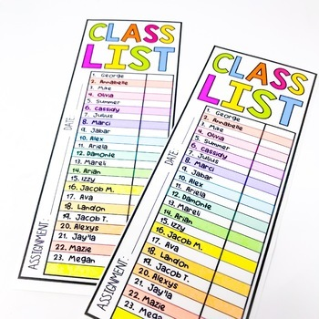 Editable Neon Class List Perfect for Grading