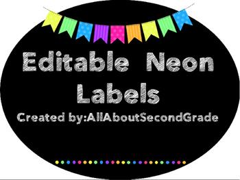 Editable Neon Classroom Labels