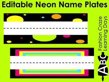 Editable Neon Name Plates