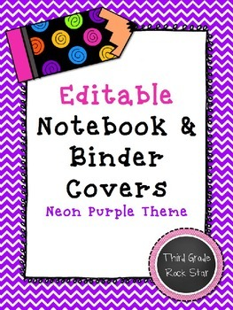 Teacher Binder & Notebook Covers *Editable* {Neon Purple Theme} *Back to School*