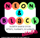 Editable Neon Rainbow Bright Circle Bulletin Board Letters