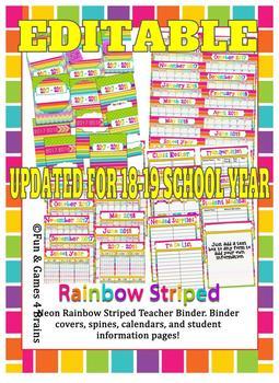 Editable Neon Rainbow Stripe Teacher Binder
