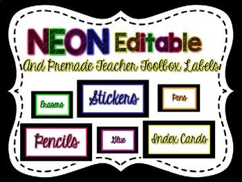 Editable Neon Teacher Toolbox Labels