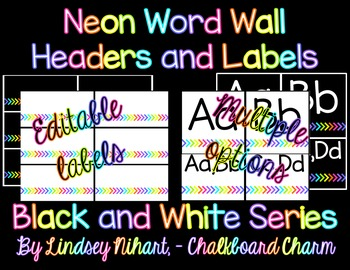 Editable Neon Word Wall Headers and Labels- Black and Whit
