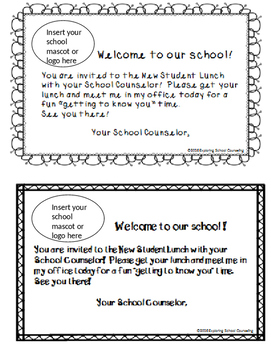 Editable New Student Lunch Invitation By Exploring School Counseling