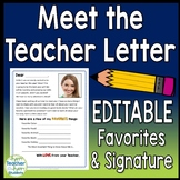 Back to School Letter: Meet the Teacher letter template **EDITABLE**