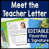 Back to School Letter: Meet the Teacher letter template **EDITABLE**