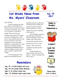 Editable Newletter or Flyer for classroom