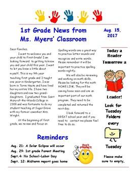 Editable Newletter or Flyer for classroom
