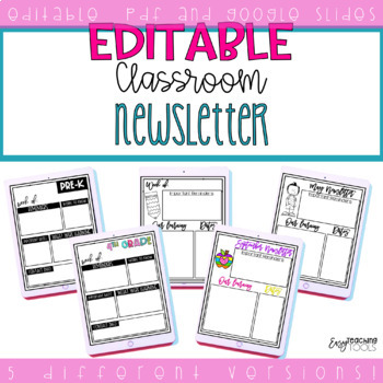 Editable Newsletter for Families