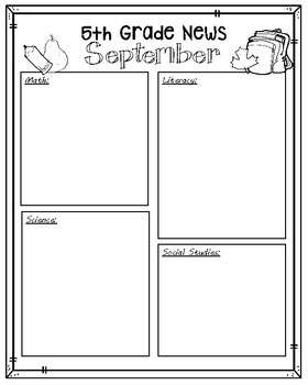 Editable Newsletter, Elementary and Middle