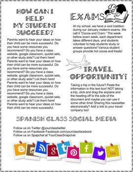 editable syllabus newsletter google ppt template spanish