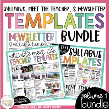 Editable Newsletter Meet the Teacher and Syllabus {3 Resource BUNDLE}