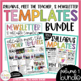 Editable Newsletter Meet the Teacher and Syllabus {3 Resource BUNDLE}