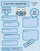 Editable Newsletter - Owl Theme Blue, Pink, Brown and Turquoise