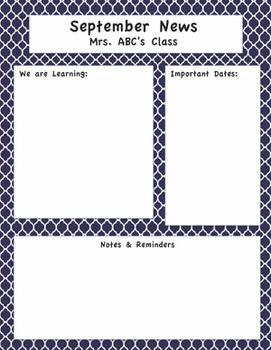 Editable Newsletter - Pink Green Blue Chevron Dots Gigham