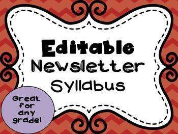 Editable Newsletter Style Syllabus
