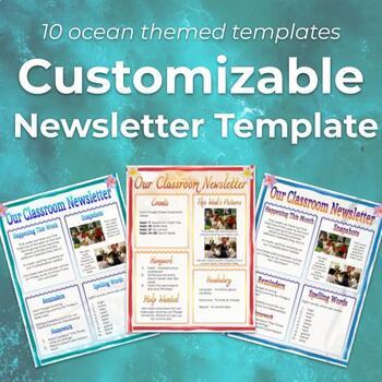 Editable Newsletter Template (10 Templates): Ocean Themed